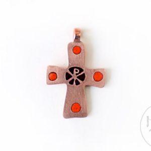 Хрестик натільний мідний оздоблений гарячою емаллю. (червоний)